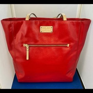 Kate Spade Tote Cherry Red With Inside&Outside Poc